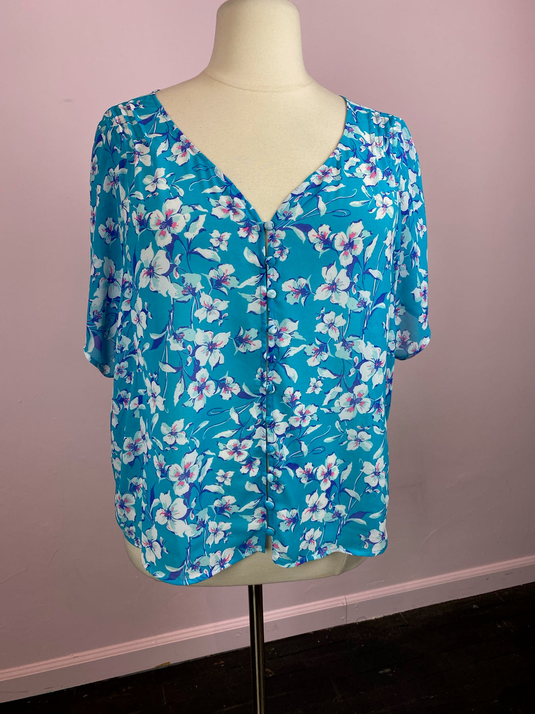 Cerulean Blue with White and Pink Floral Blouse by Torrid, Size 1