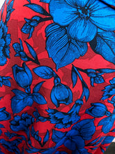 Load image into Gallery viewer, LuLaRoe Blue & Red Floral Midi Skirt, Size L