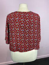 Load image into Gallery viewer, Red with Blue and Yellow Mini Paisley Print Top by Boohoo, Size 16
