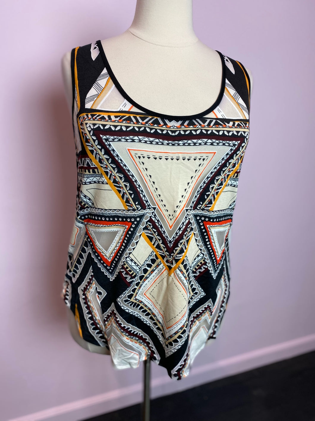 Multicolor Geometric Mossimo Tunic with Sheer Panels, Size 2X