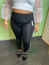 Load image into Gallery viewer, Black VS Pink Yoga Pants with Holographic Sequins, Size XL