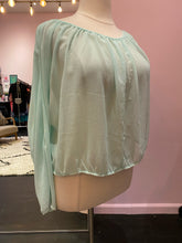 Load image into Gallery viewer, Gauzy Light Teal Blouse with Open Back by Ambiance, Size 2X