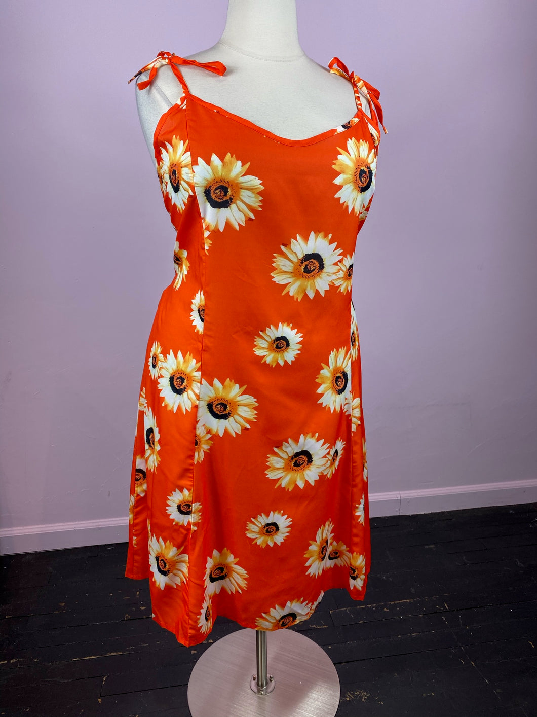 Red-Orange Midi Dress with Realistic Sunflower Pattern by YOINS, Size 3X