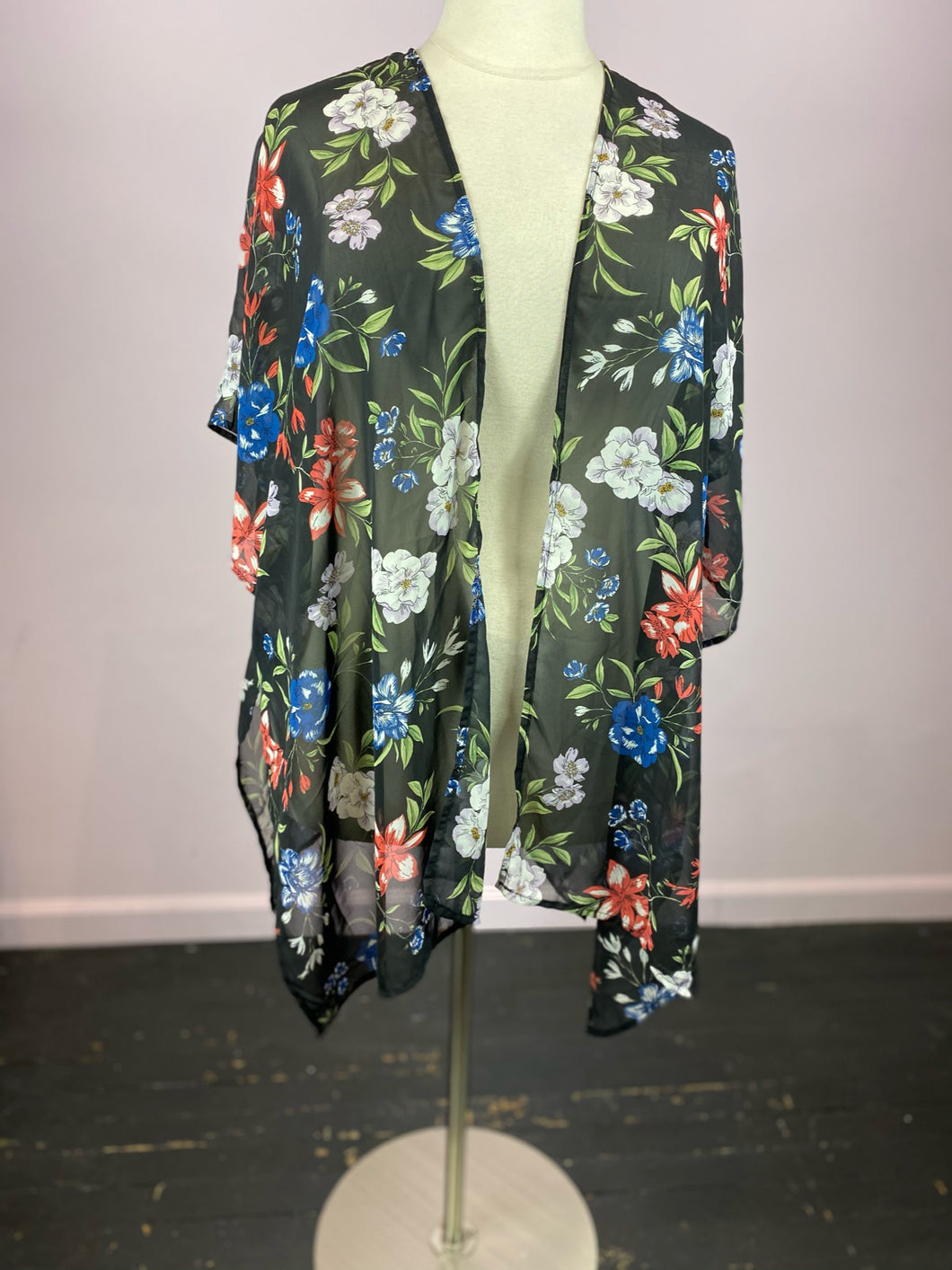 Black Floral Duster, Size 2X