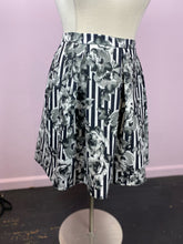 Load image into Gallery viewer, Black and White Stripes and Grayscale Floral Skirt by City Chic, Size 22/24