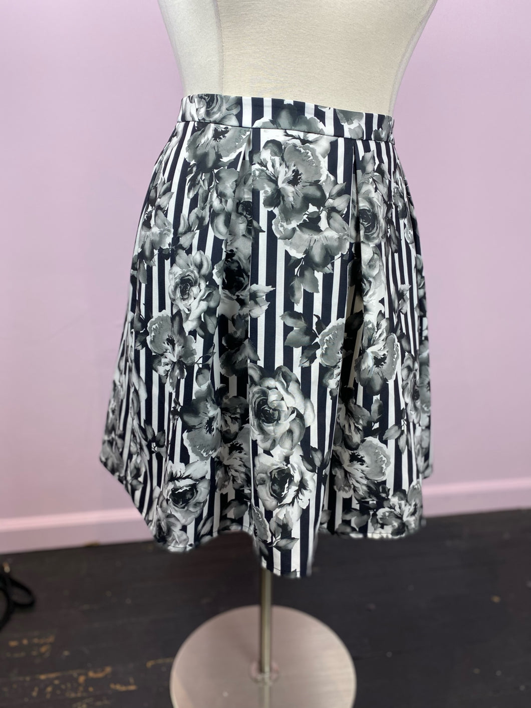 Black and White Stripes and Grayscale Floral Skirt by City Chic, Size 22/24