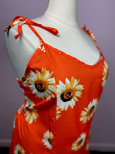 Load image into Gallery viewer, Red-Orange Midi Dress with Realistic Sunflower Pattern by YOINS, Size 3X