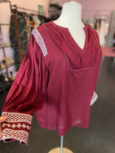 Load image into Gallery viewer, Boho Maroon Tunic with White Detailing, Girl Soul 1X