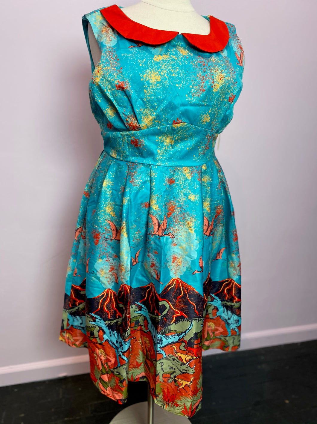Electric Blue Dinosaur and Volcano Print Lindy Bop Retro Dress, Size 16