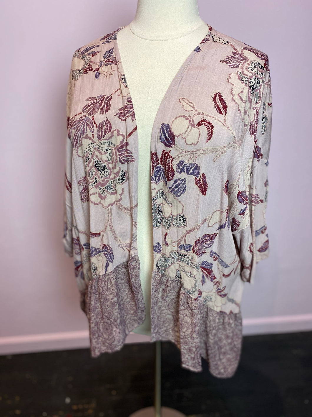 Blush Pink Embroidered Floral Multiprint Duster by Knox Rose, Size 2X