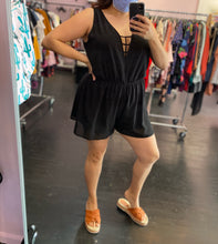Load image into Gallery viewer, Little Black Romper With Cage Back by Alice & You, Size 16/18