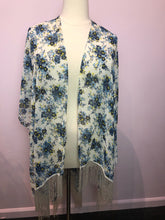 Load image into Gallery viewer, White, Blue, and Yellow Floral Print Torrid Duster with Fringe, Size 1