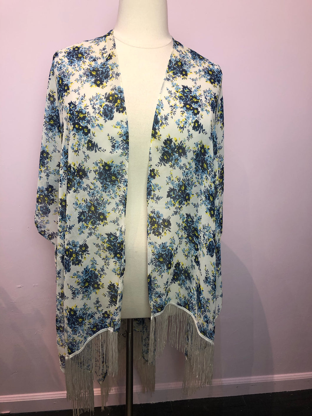White, Blue, and Yellow Floral Print Torrid Duster with Fringe, Size 1