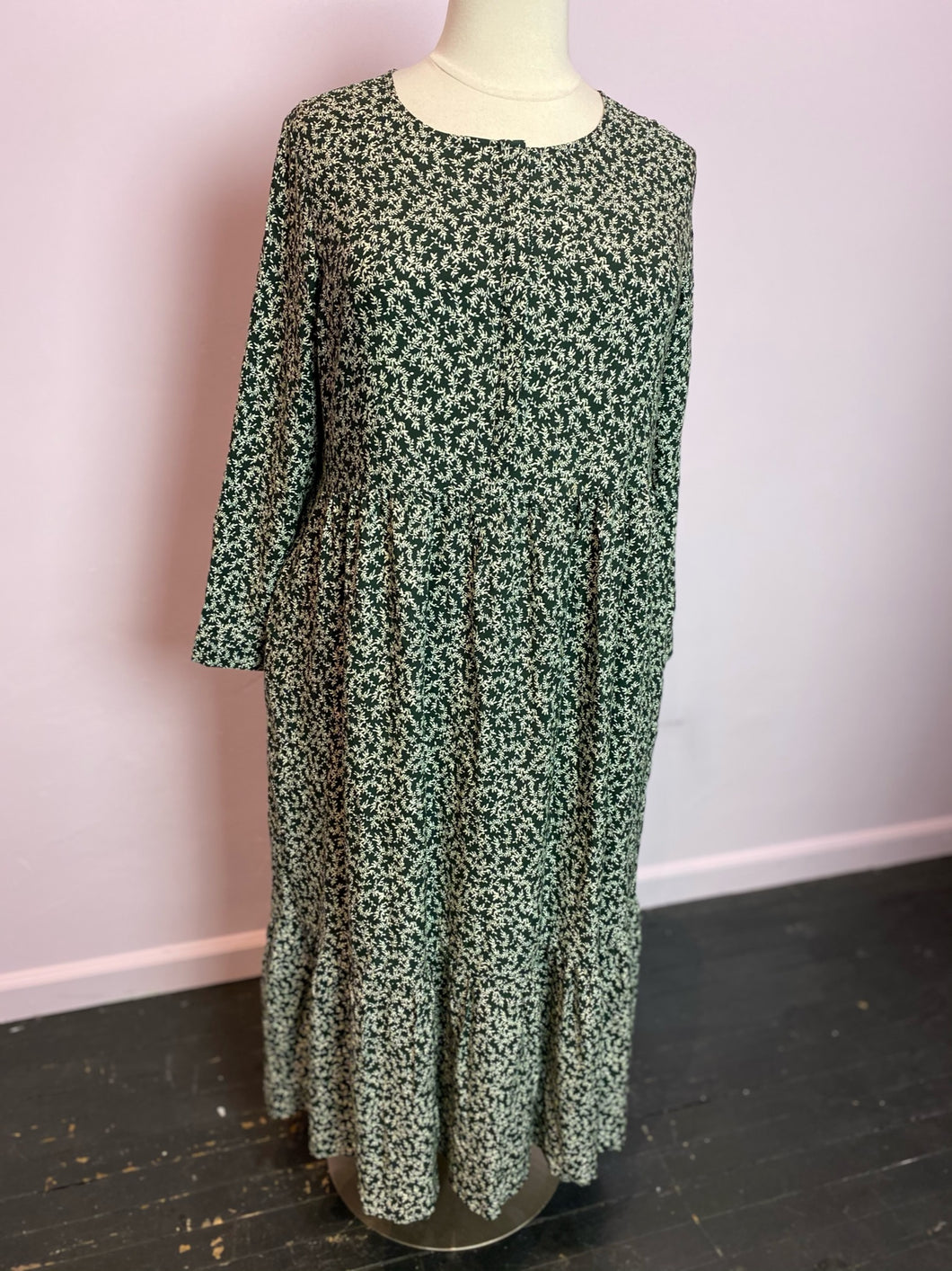 Old Navy Floral-Print Waist-Defined Midi Dress, Size XL