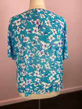 Load image into Gallery viewer, Cerulean Blue with White and Pink Floral Blouse by Torrid, Size 1