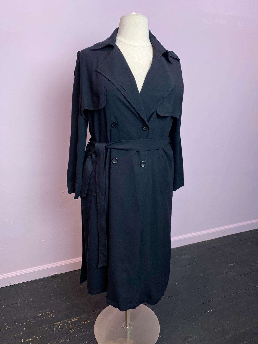 Long Black Trench Coat by H&M, Size 14