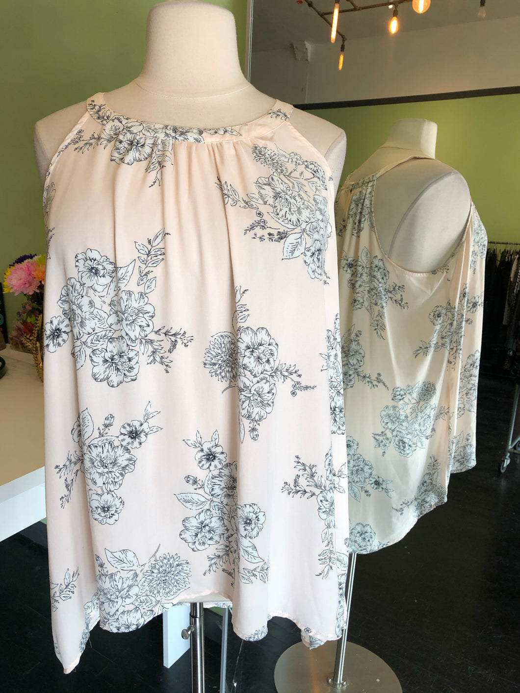 Pale Pink with Delicate White and Black Floral Torrid Top, Size 4