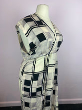 Load image into Gallery viewer, Abstract Checkered Faux Wrap Maxi Dress, Size 2X