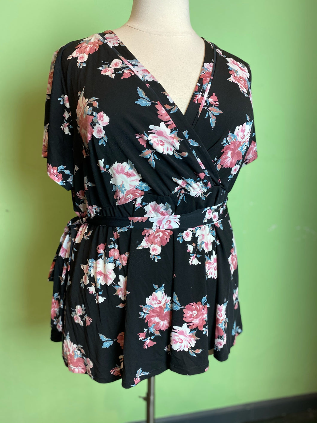 Black and Pink Floral Torrid Wrap Top, Size 3