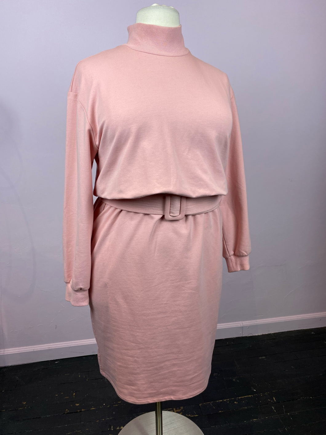 Blush Pink Turtleneck Sweater Dress with Belt by Eloquii, Size 16