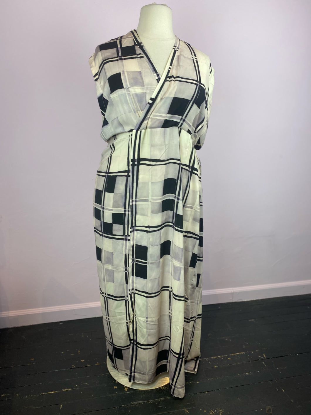 Abstract Checkered Faux Wrap Maxi Dress, Size 2X