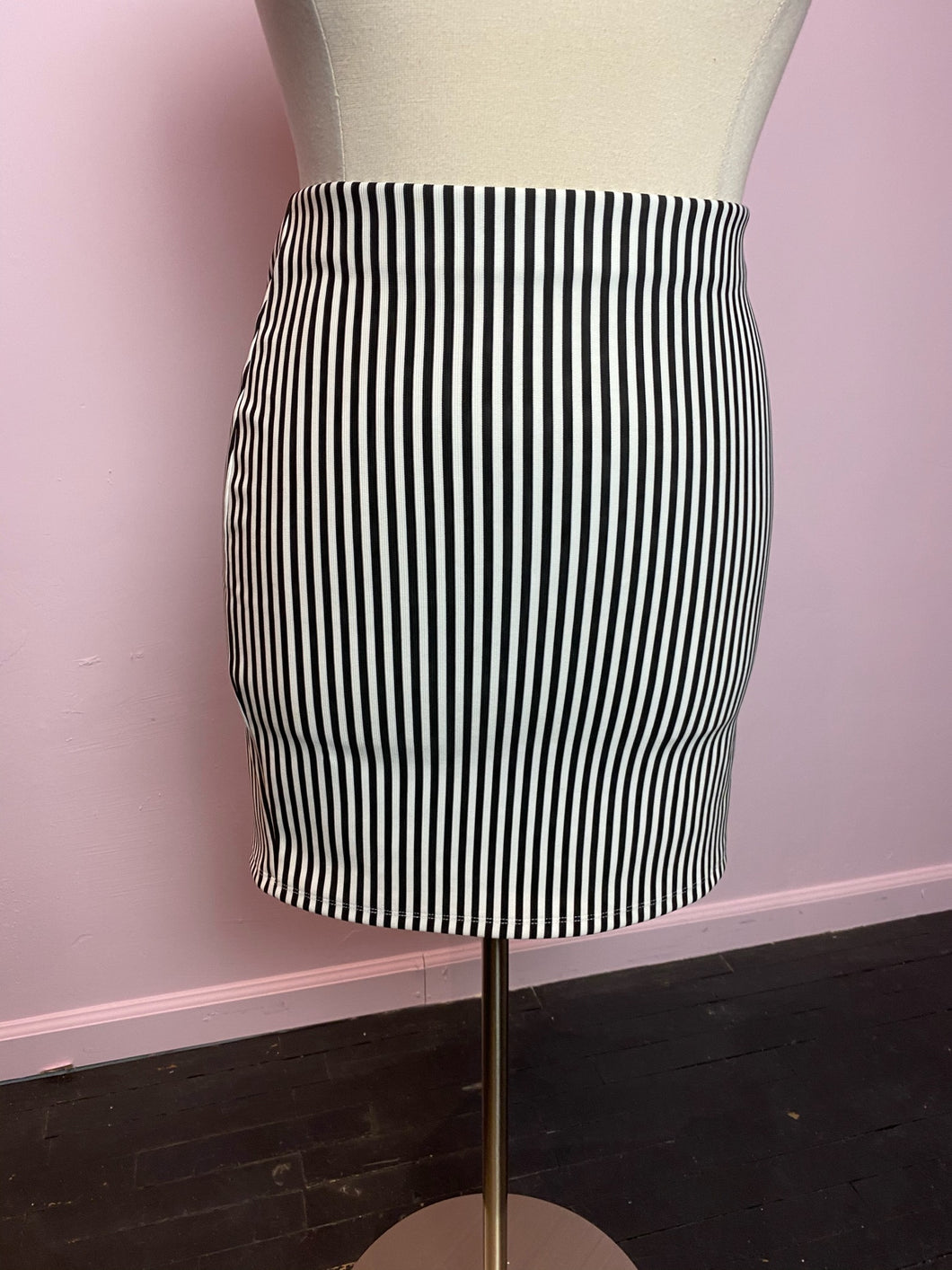 Black and White Vertical Stripes Stretchy Forever 21 Skirt, Size 3X