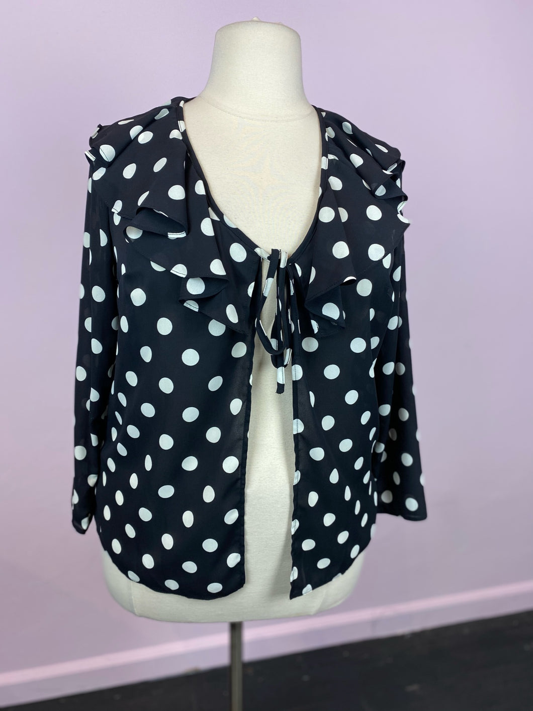 Black & White Polkadot Tie-Front Cardigan, Simply Be XL