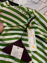 Load image into Gallery viewer, Lime Green and White Striped Tee by Ava & Viv, Size 3X