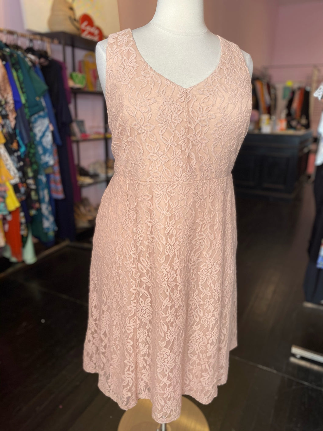 Light Pink Floral Lace Overlay Midi Dress, Torrid Size 3