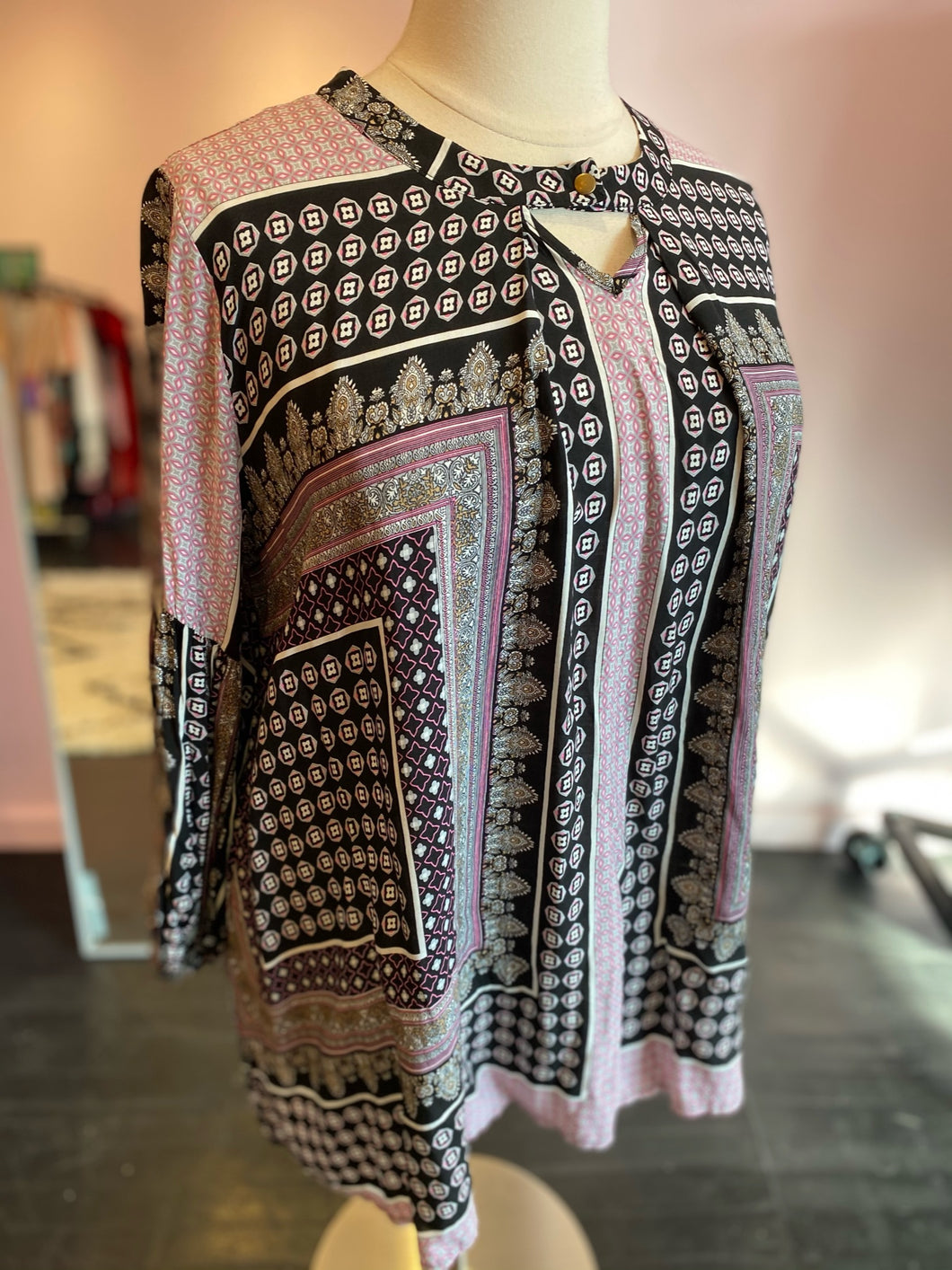 Pink, Black and White Mixed Print Top with Keyhole Detail by Velzera, Size 2X