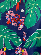 Load image into Gallery viewer, Navy Blue, Green, and Pink Tropical Button Up Tank with Tie Shoulder Details by Eloquii, Size 14