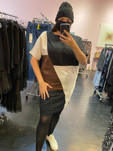 Load image into Gallery viewer, Black, White, and Brown Abstract Colorblock Dress by Buykud, Size L/XL