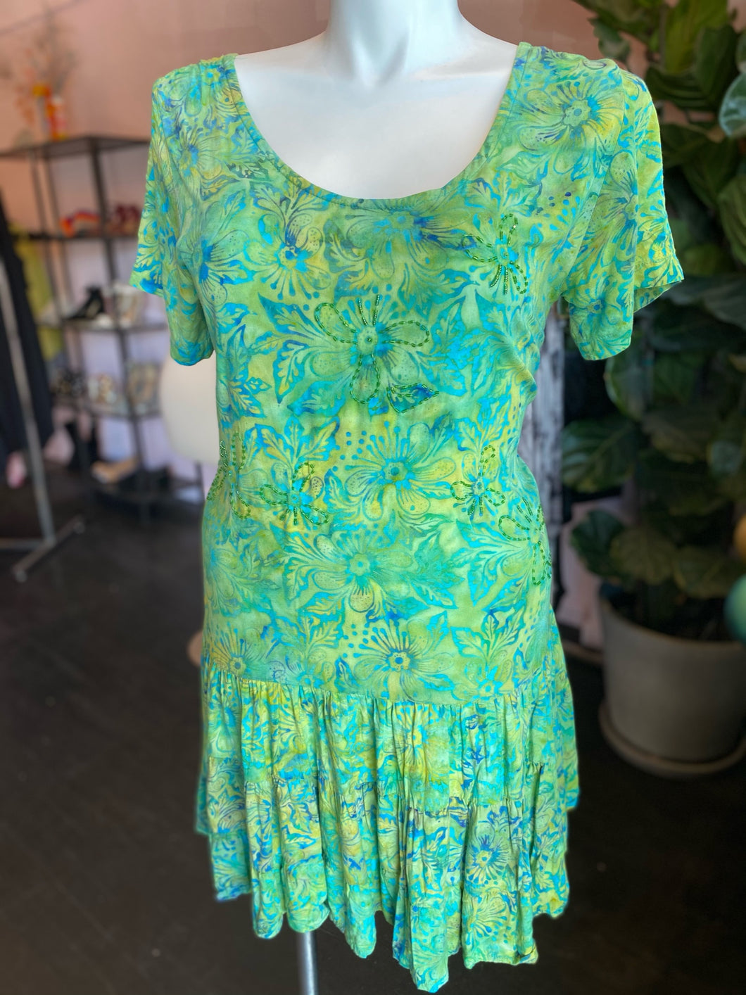 Green, Yellow and Blue Dress, Vintage, Size XL