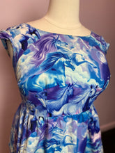 Load image into Gallery viewer, Blue, Purple, and White Unicorn Print Dress by Retrolicious, Size 1X