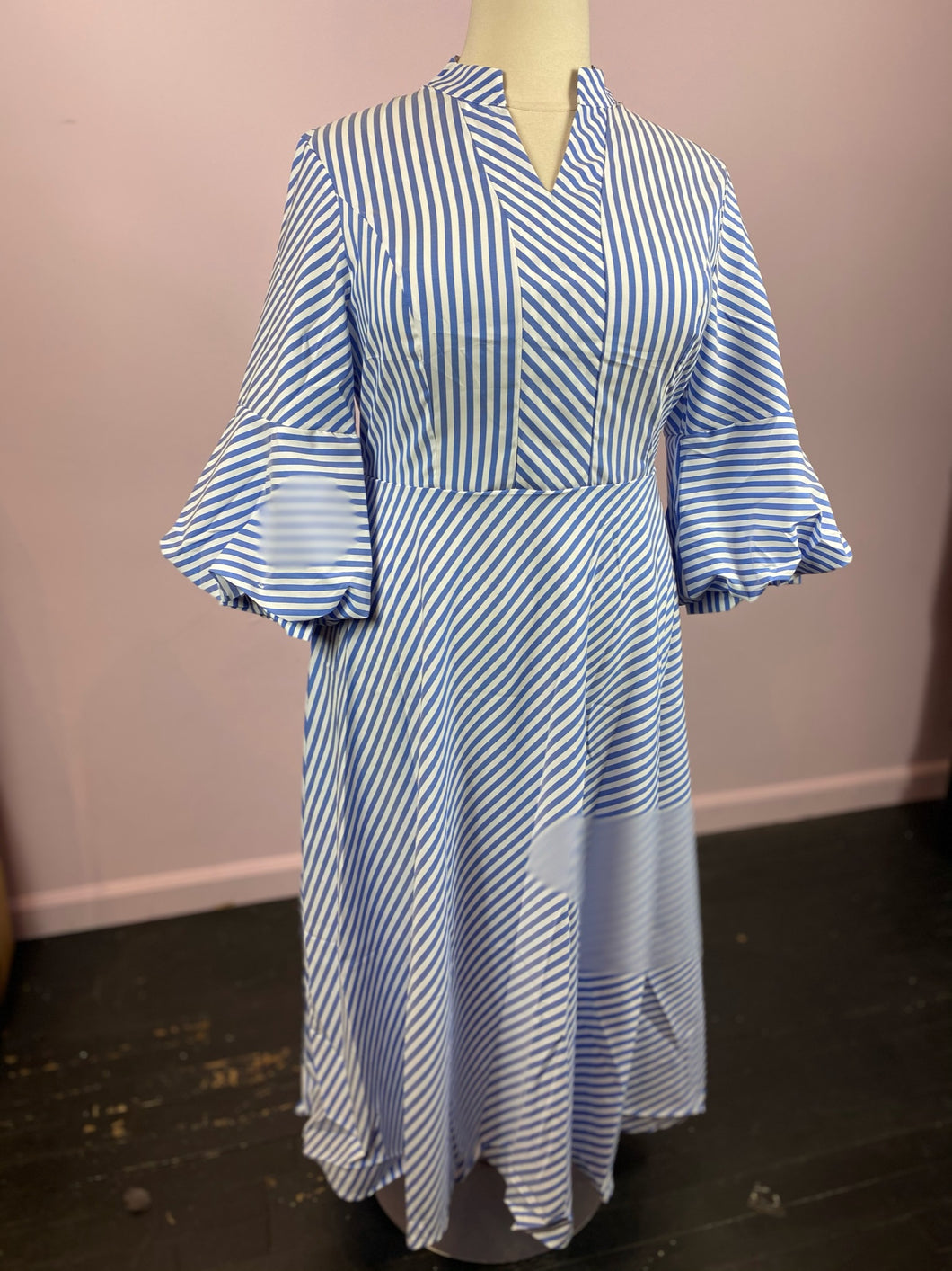 Blue and White Striped Dress with Bell Sleeves, by SHEIN size 1X, 2X, 3X & 4X
