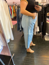 Load image into Gallery viewer, ASOS LIghtwash Cropped Straight Leg Jeans with Mediumwash Stripe, Size 14
