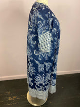 Load image into Gallery viewer, Blue and White Paisley Print Caftan by SHEIN, Sizes 1X, 2X, 3X
