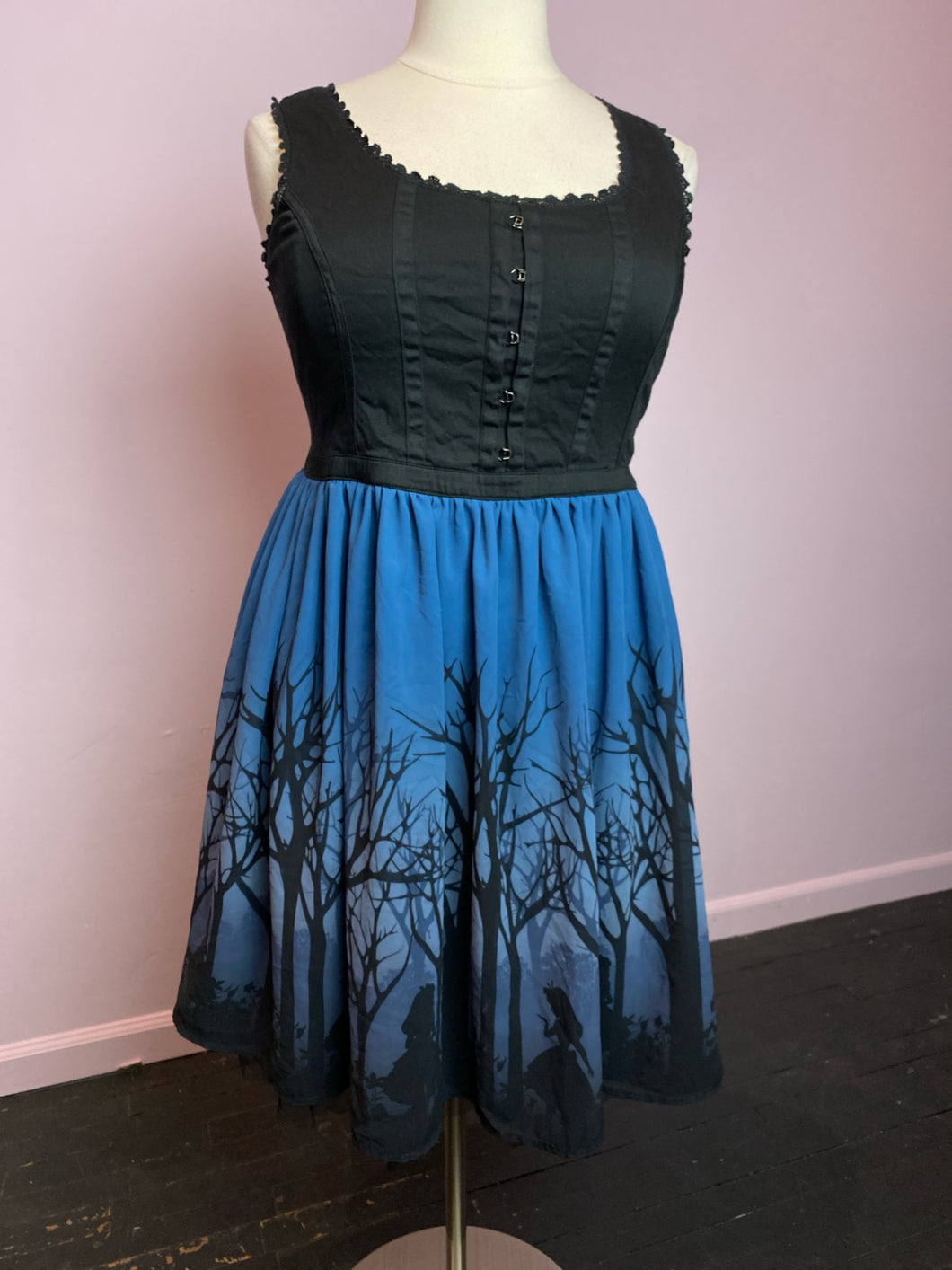 Blue and Black Alice in Wonderland Corset Dress by Disney, Size 16