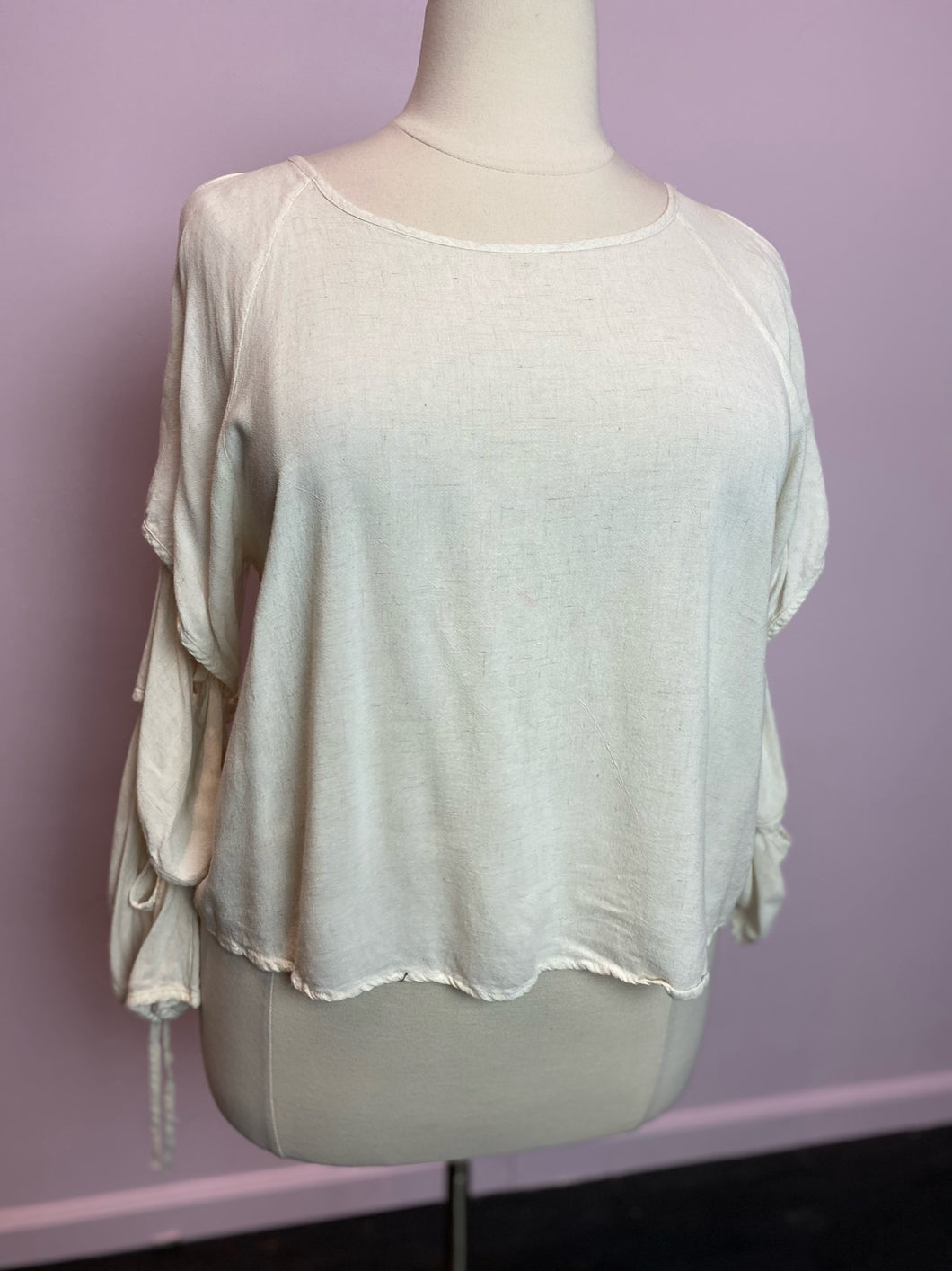 Cream Poet Sleeve Blouse by Loveriche, Size 2X