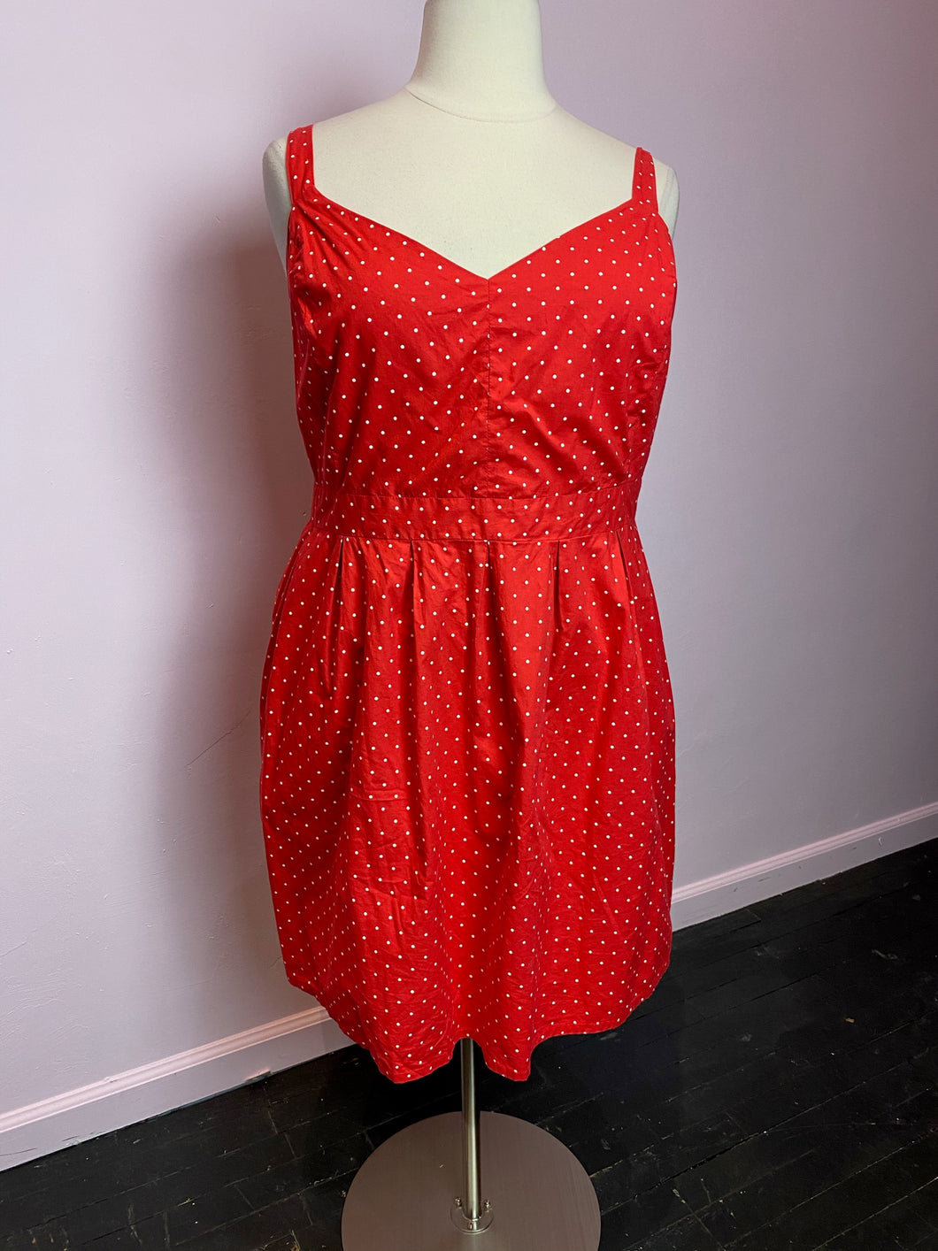 Red with Mini White Polka Dots Dress by Joe Brown's, Size 3X/4X
