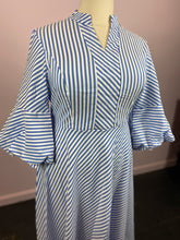 Load image into Gallery viewer, Blue and White Striped Dress with Bell Sleeves, by SHEIN size 1X, 2X, 3X & 4X