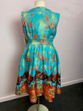 Load image into Gallery viewer, Electric Blue Dinosaur and Volcano Print Lindy Bop Retro Dress, Size 16