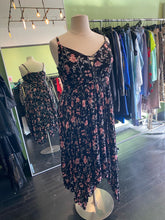 Load image into Gallery viewer, Black with Gray and Pink Floral Torrid Maxi Dress, Size 2