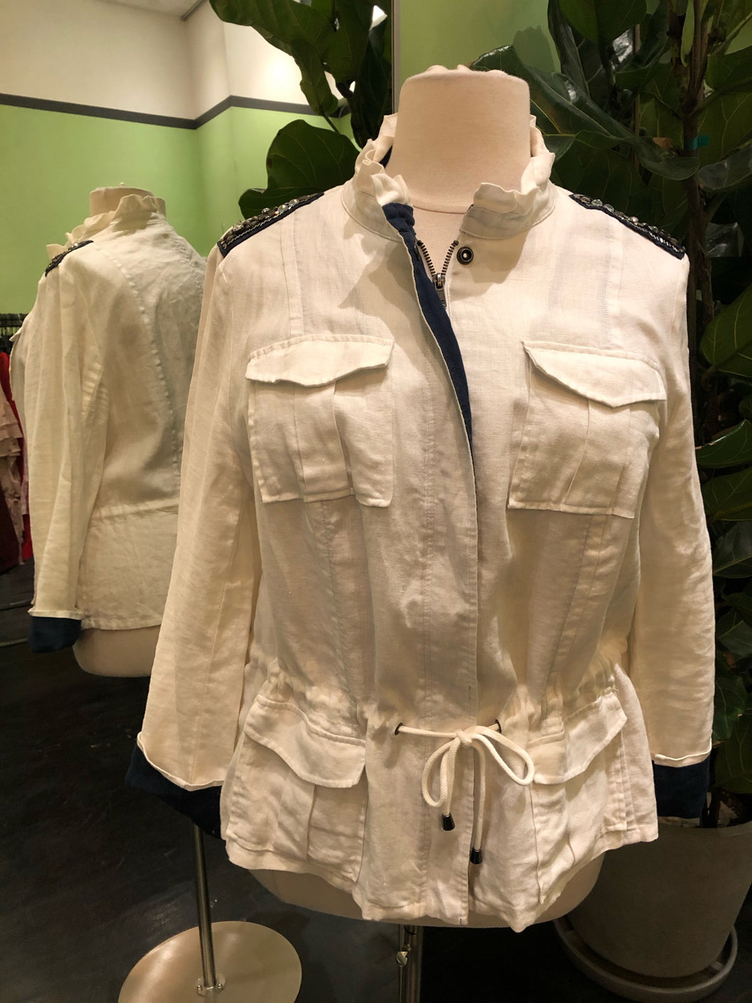 White Cargo Jacket with Bead Pattern at the Shoulder by INC, Size 2X