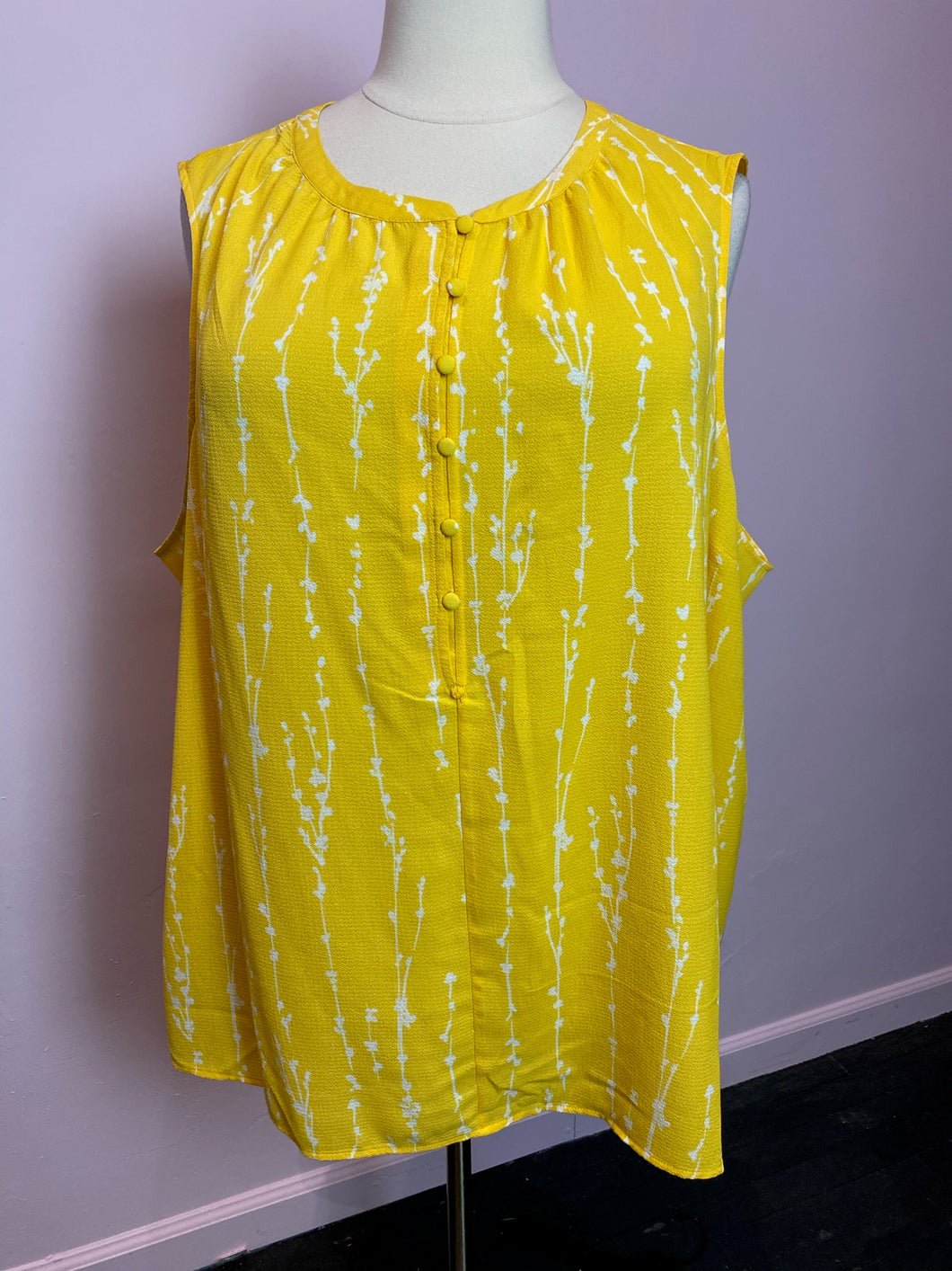 Lemon Yellow Sleeveless Top with White Branch Print by Ava & Viv, Size 4X