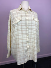 Load image into Gallery viewer, Cream and Gold Windowpane Plaid Oversize Button Up by Pretty Little Thing, Size 12