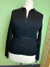 Load image into Gallery viewer, Black Ribbed Shimmer Venezia Sweater, Size 18/20
