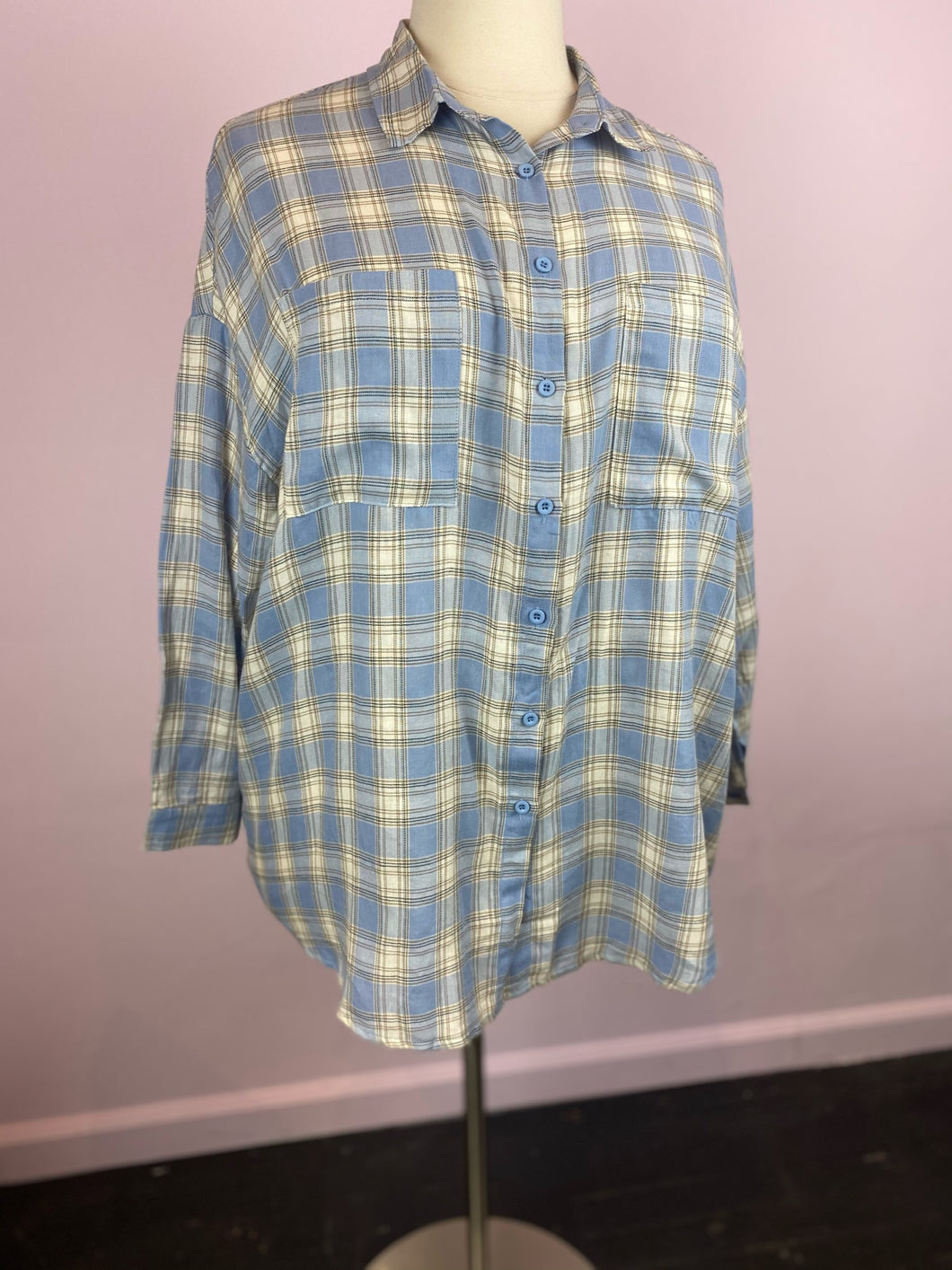 Oversized Blue & White Checkered Button Up, Boohoo Size 14