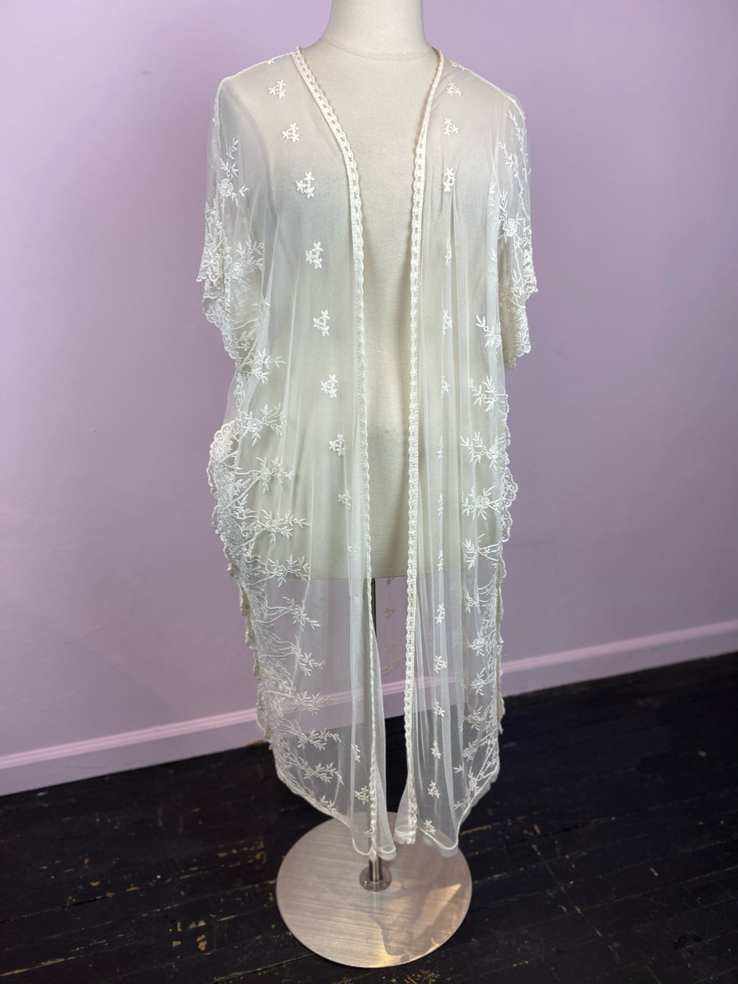 Forever21 Cream Lace Duster, 2/3X