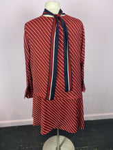 Load image into Gallery viewer, Red and White Diagonal Striped Shift Dress with Navy and Red Ascot Detail by Who What Wear, Size 3X